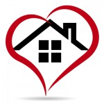 Heart around a home illustrating compassionate in home pet euthanasia.